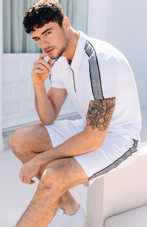 MAUVAIS White Chino Shorts with Check Stripe
