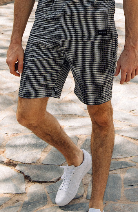 MAUVAIS White Houndstooth Tailored Shorts