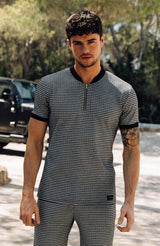 MAUVAIS White Houndstooth T-Shirt with Zip