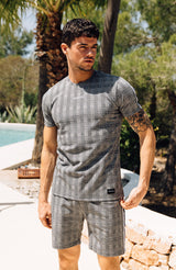MAUVAIS Grey Check Tailored Shorts with Tape