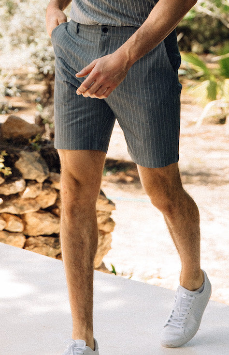 Grey Pinstripe Tailored Shorts