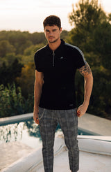 MAUVAIS Black Rib Polo with Check Panel Sleeves
