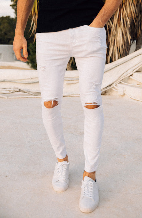 MAUVAIS White Distressed Spray on Denim Jeans