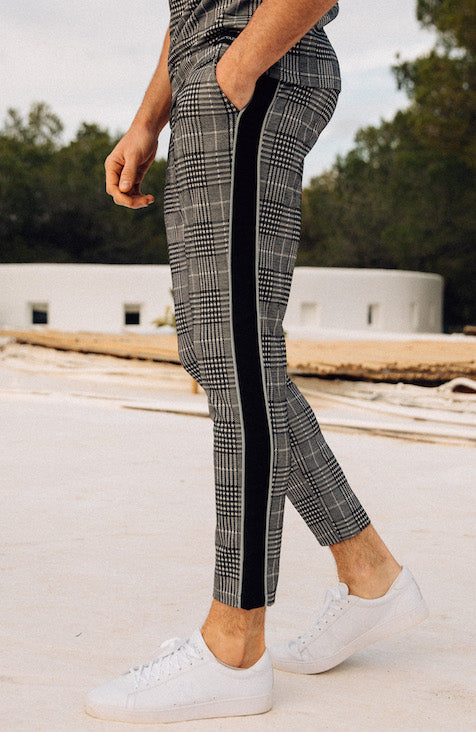 MAUVAIS Grey Check Cropped Trousers with Black Stripe and Detachable Chain