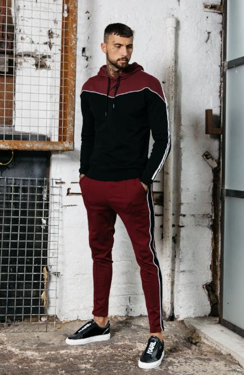 MAUVAIS Pleated Smart Joggers - Burgundy