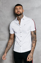 MAUVAIS White Short Sleeve Oxford Shirt with Taping