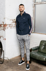 MAUVAIS Navy Oxford Shirt with Taping