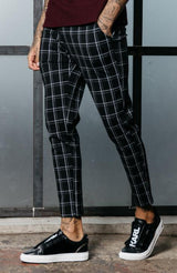 MAUVAIS Black/White Check Cropped Trousers
