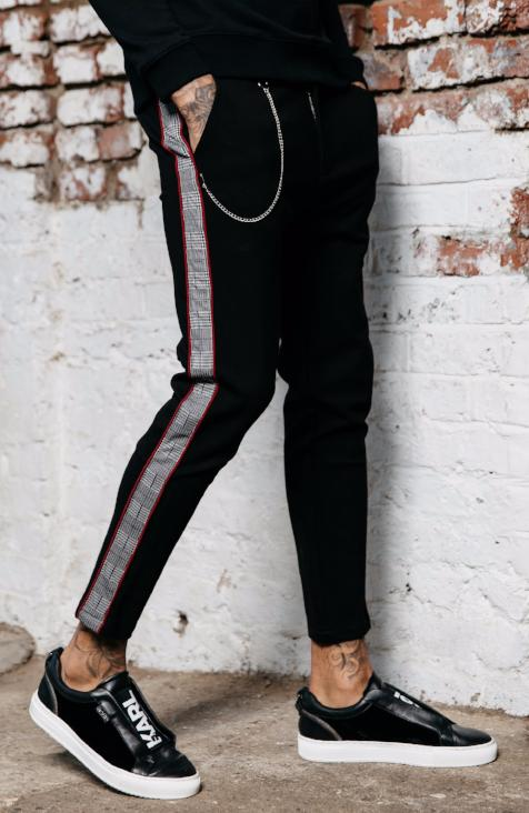 MAUVAIS Black Cropped Trousers with Check Side Stripe and Detachable Chain