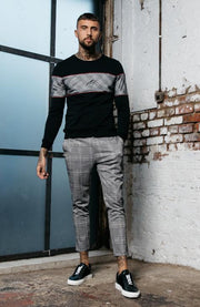 MAUVAIS Grey Check Cropped Trousers with Detachable Chain
