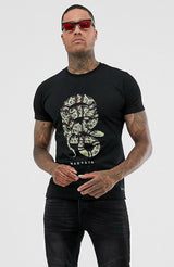 MAUVAIS Black T-Shirt with Snake Print