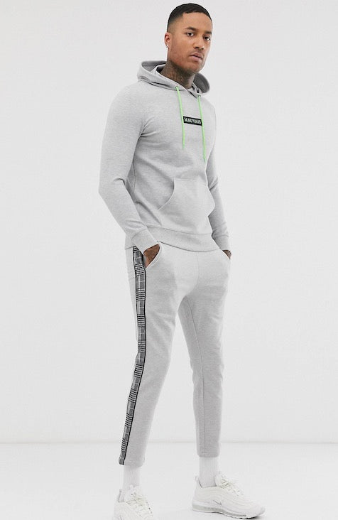 MAUVAIS Grey Joggers with Check Stripe and Neon Drawstring