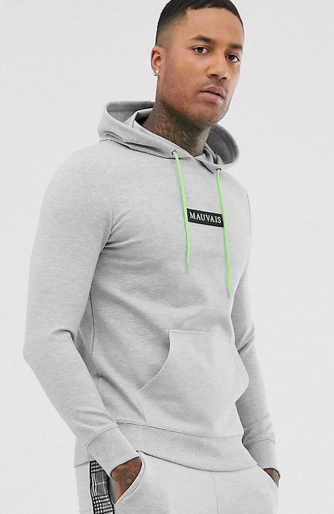 MAUVAIS Grey Hoodie With Neon Drawstring