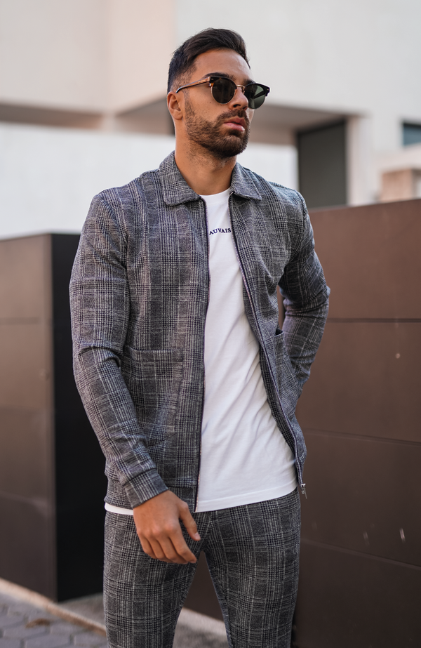 Grey Arroux Check Harrington Jacket
