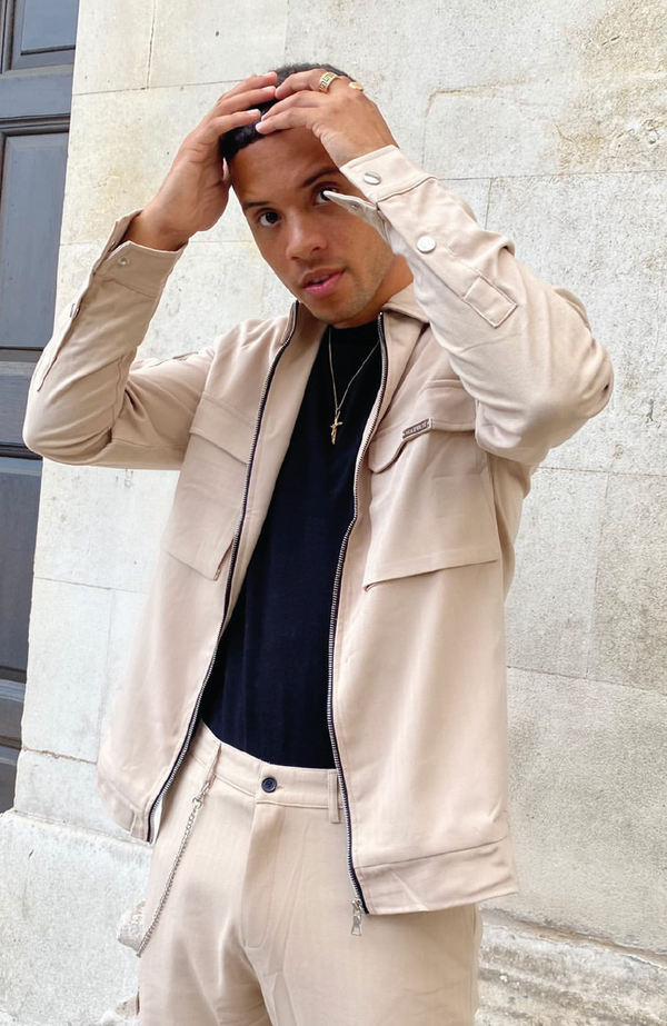 MAUVAIS Beige Smart Cargo Jacket
