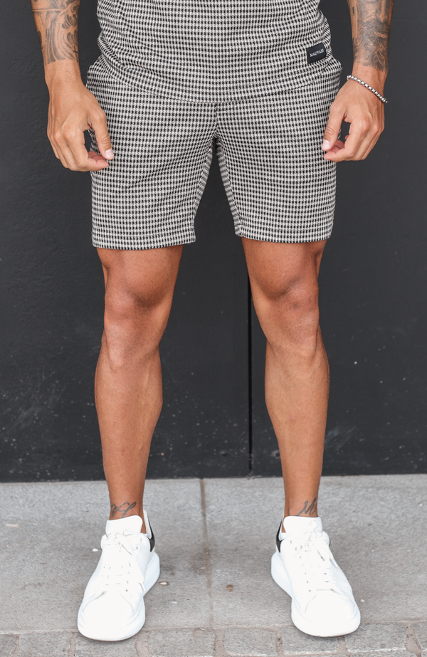 MAUVAIS Beige Check Shorts