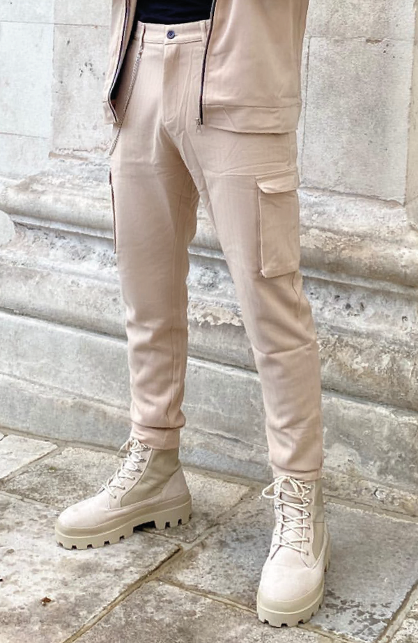 MAUVAIS Beige Smart Cargo Trousers