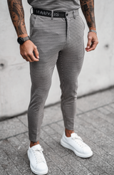 MAUVAIS Beige Check Trousers with Half Belt