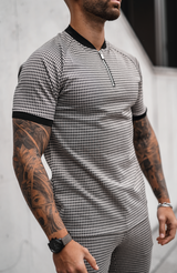 MAUVAIS Beige Check Zip T-Shirt