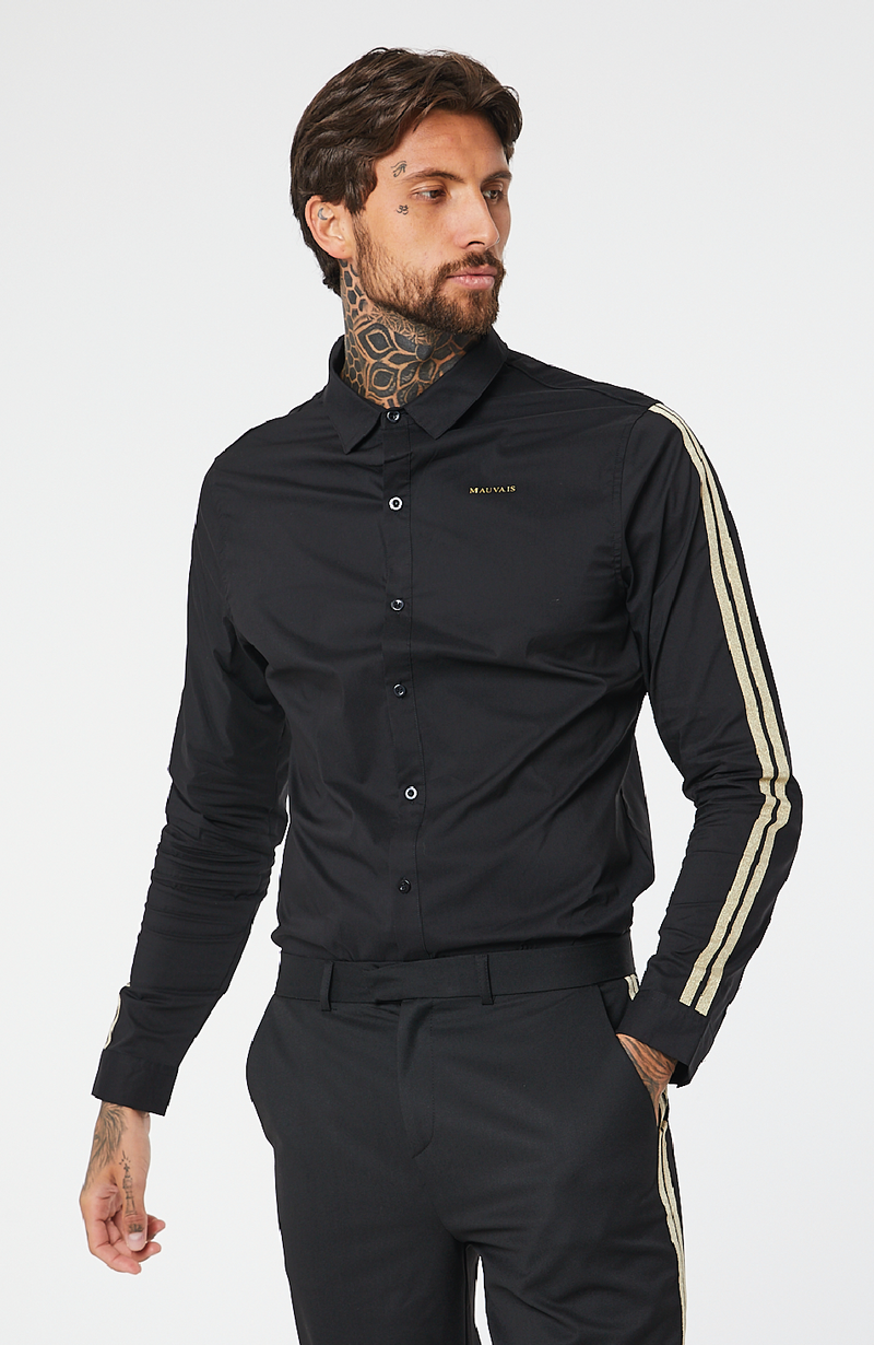 MAUVAIS Black Oxford Shirt with Gold Taping