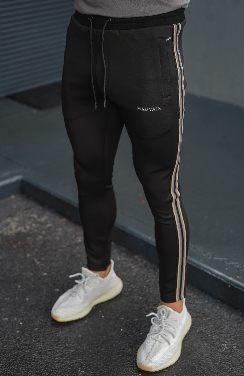 Black Avignon Premium Track Joggers with Tape