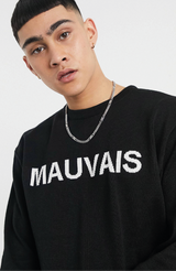 MAUVAIS Black Knitted Logo Jumper