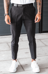 MAUVAIS Black Pinstripe Trousers with Half Belt