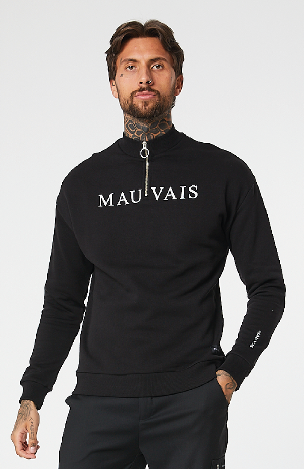 MAUVAIS Black 1/4 Zip Logo Sweatshirt
