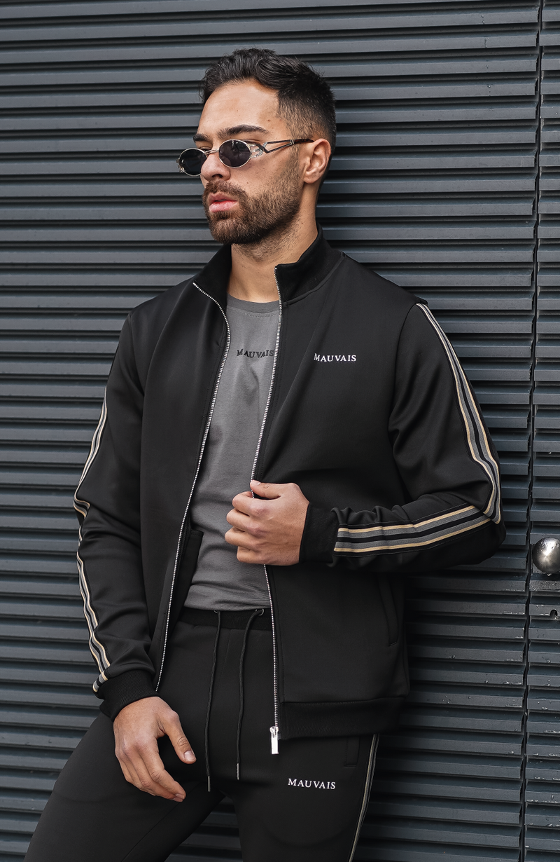 Black Avignon Premium Track Jacket with Tape