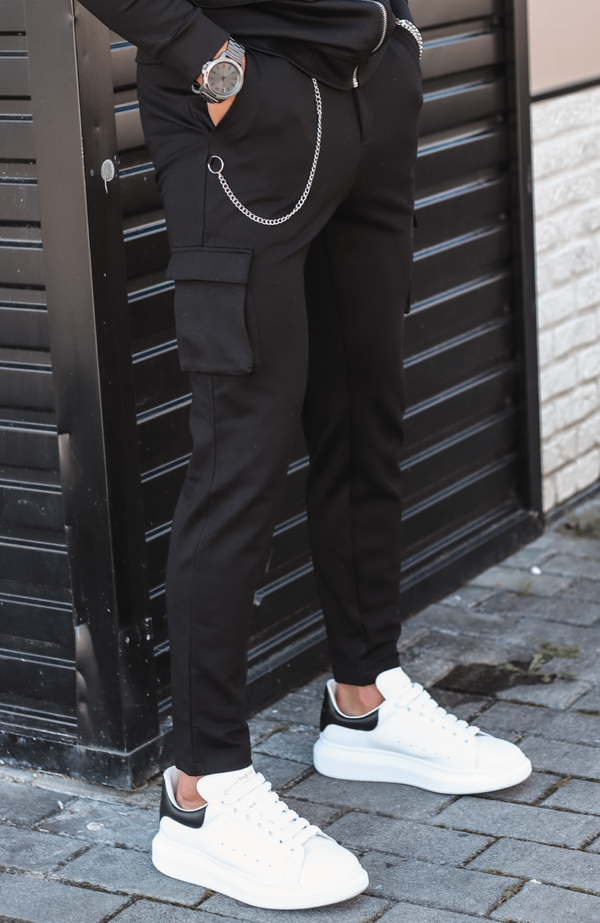 MAUVAIS Black Cargo Pants with Detachable Chain