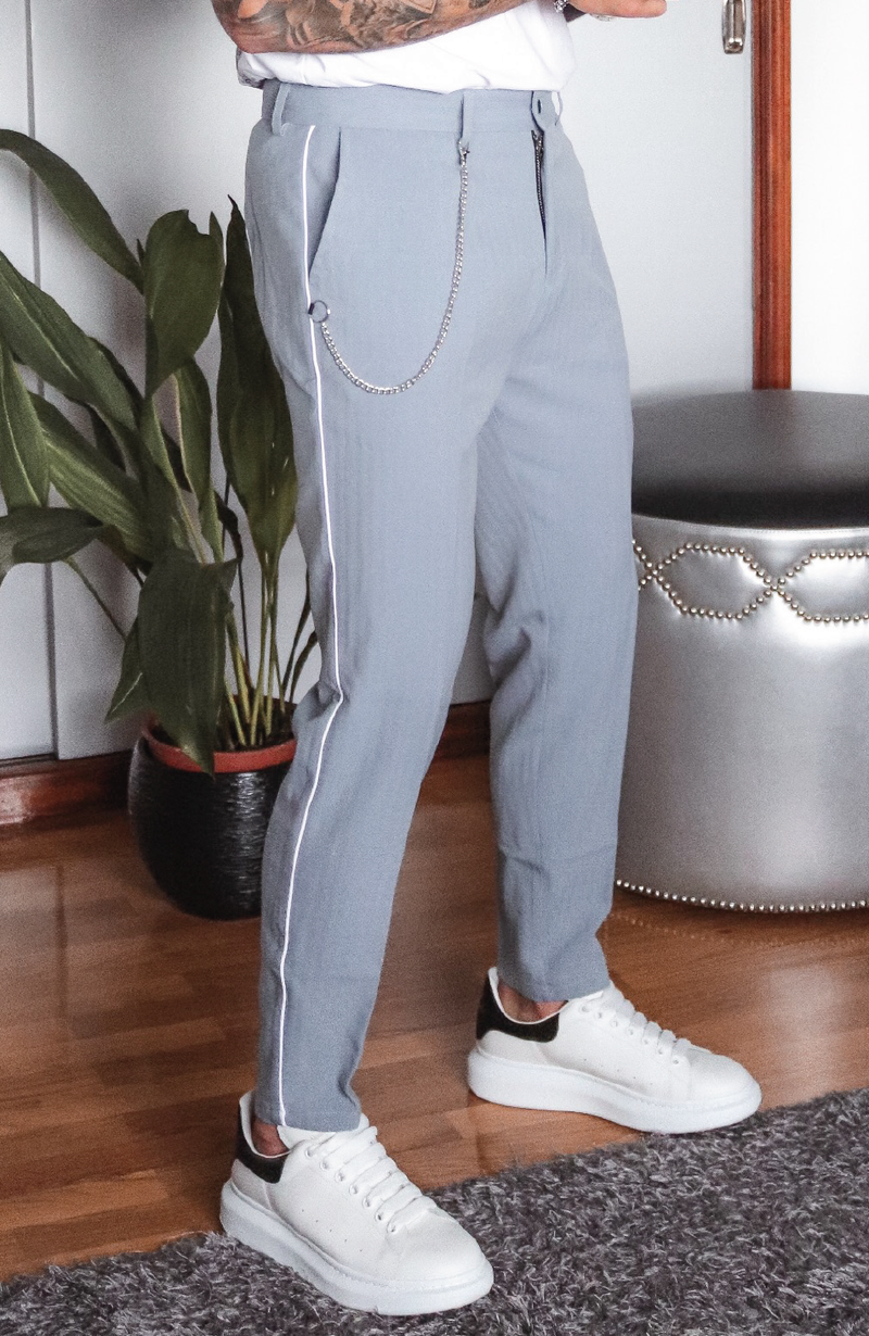 MAUVAIS Blue Slim Trousers with White Piping