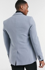 MAUVAIS Blue Double Breasted Blazer