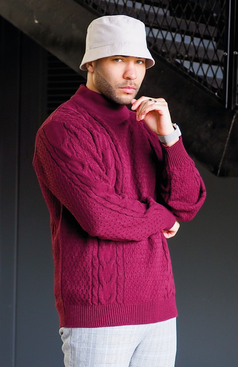 MAUVAIS Burgundy Cable Knit Funnel Neck