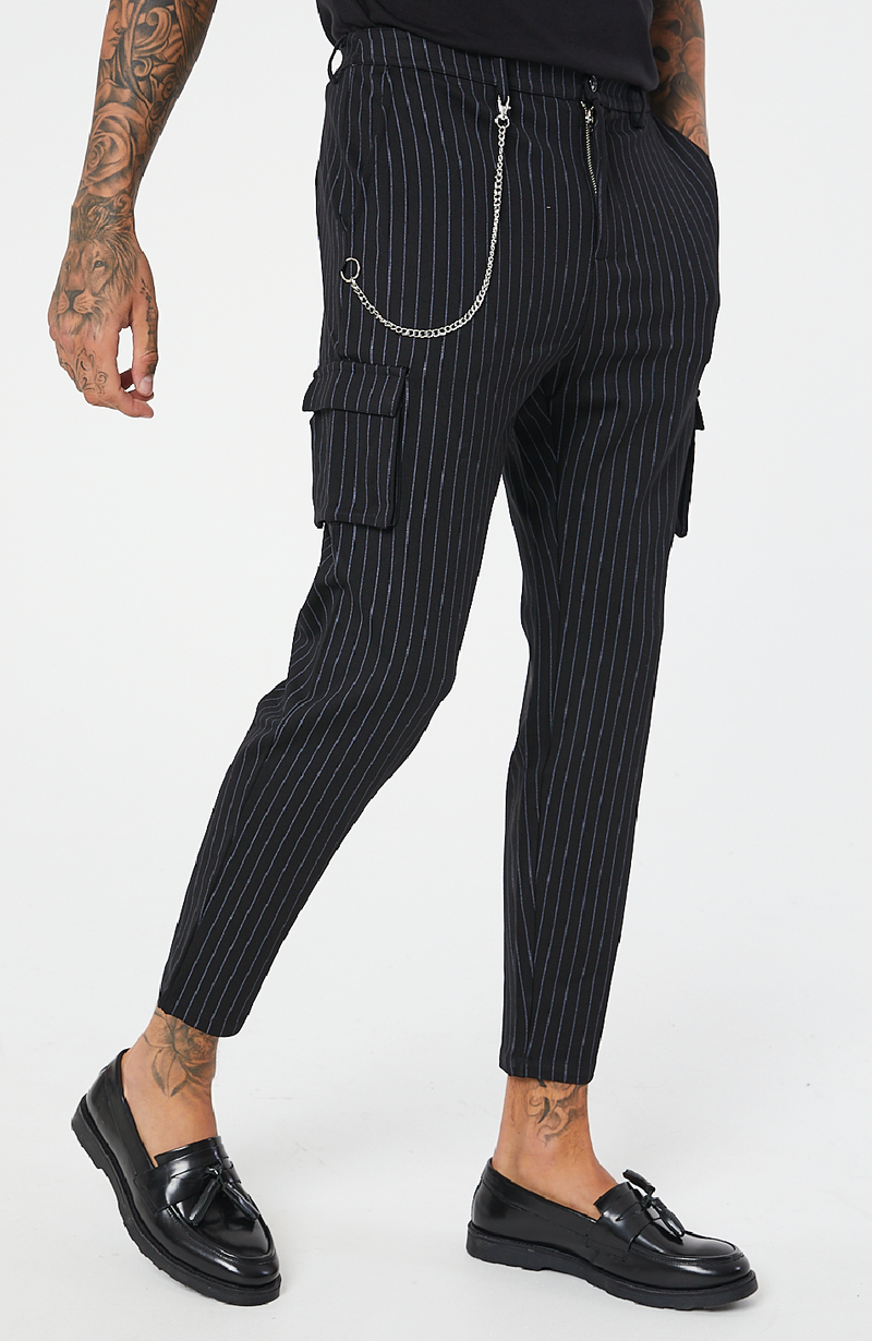 MAUVAIS Black Pinstripe Cargo Pants with Detachable Chain