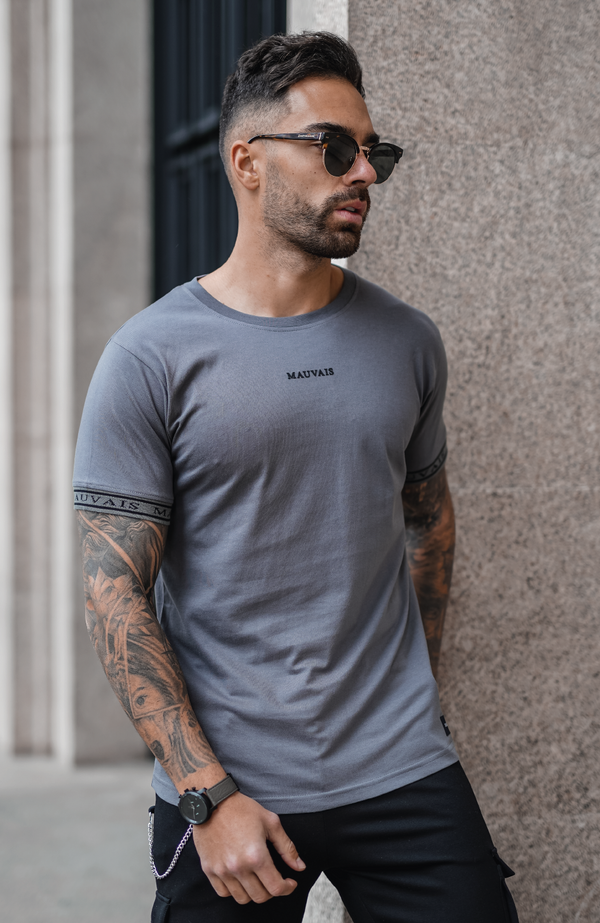 MAUVAIS Charcoal Taped Tee