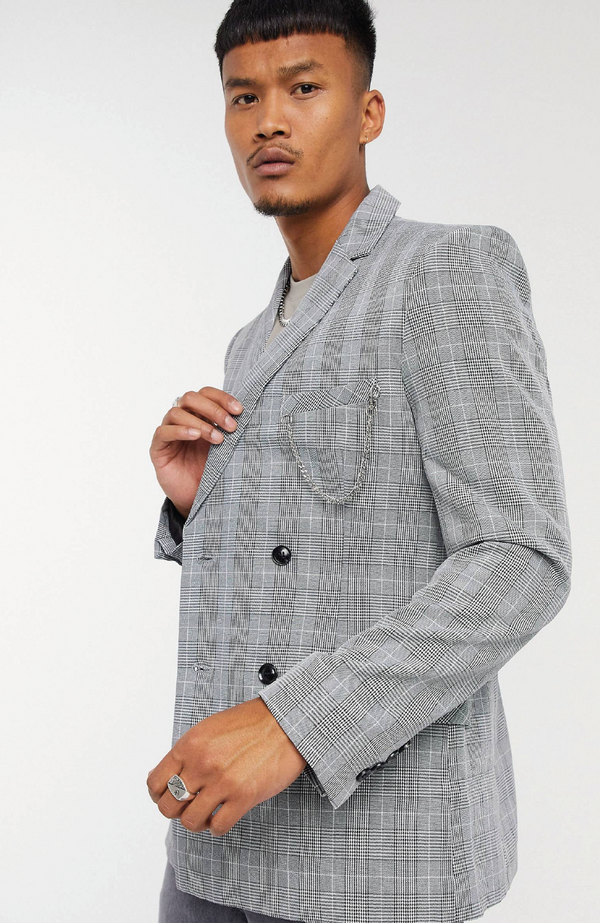 MAUVAIS Check Double Breasted Blazer