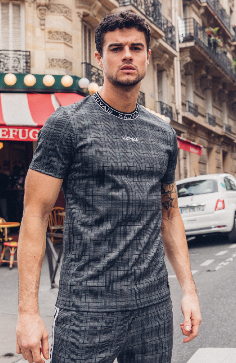 MAUVAIS Dark Check T-Shirt with Neck Tape