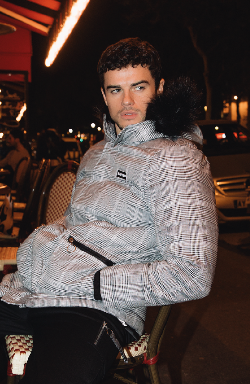 MAUVAIS Grey Check Parka Coat