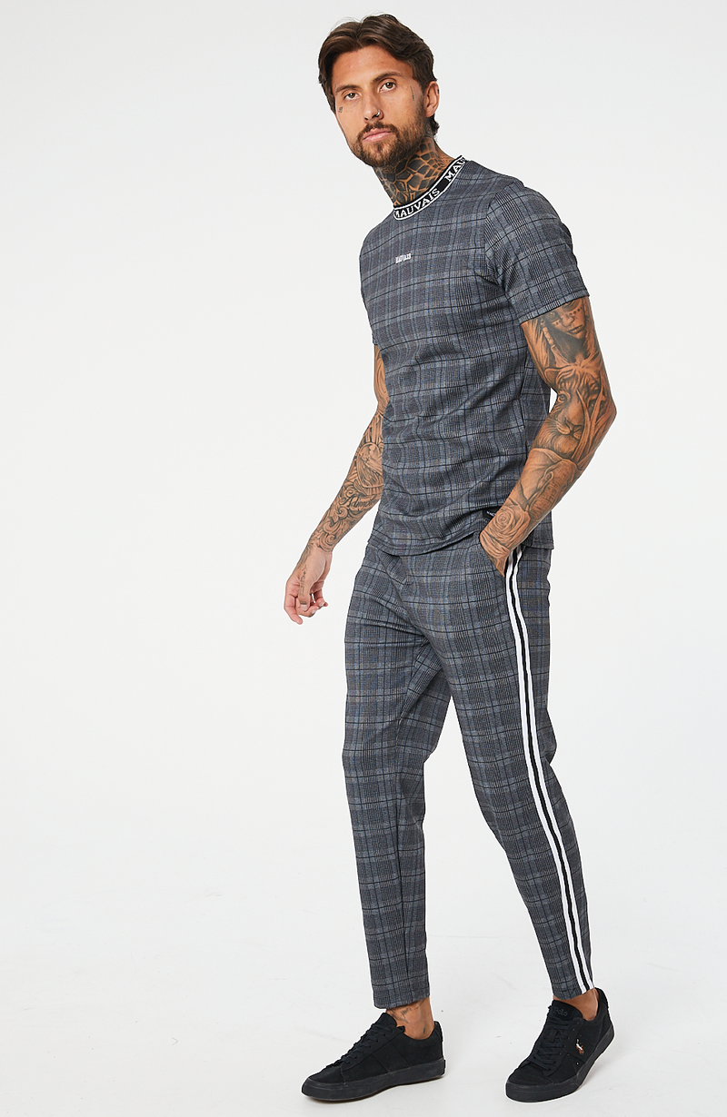 MAUVAIS Dark Check Jogger Trousers with Stripe