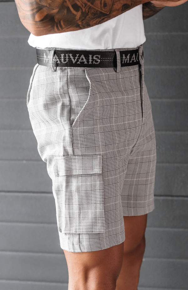 MAUVAIS Check Half Belt Cargo Shorts