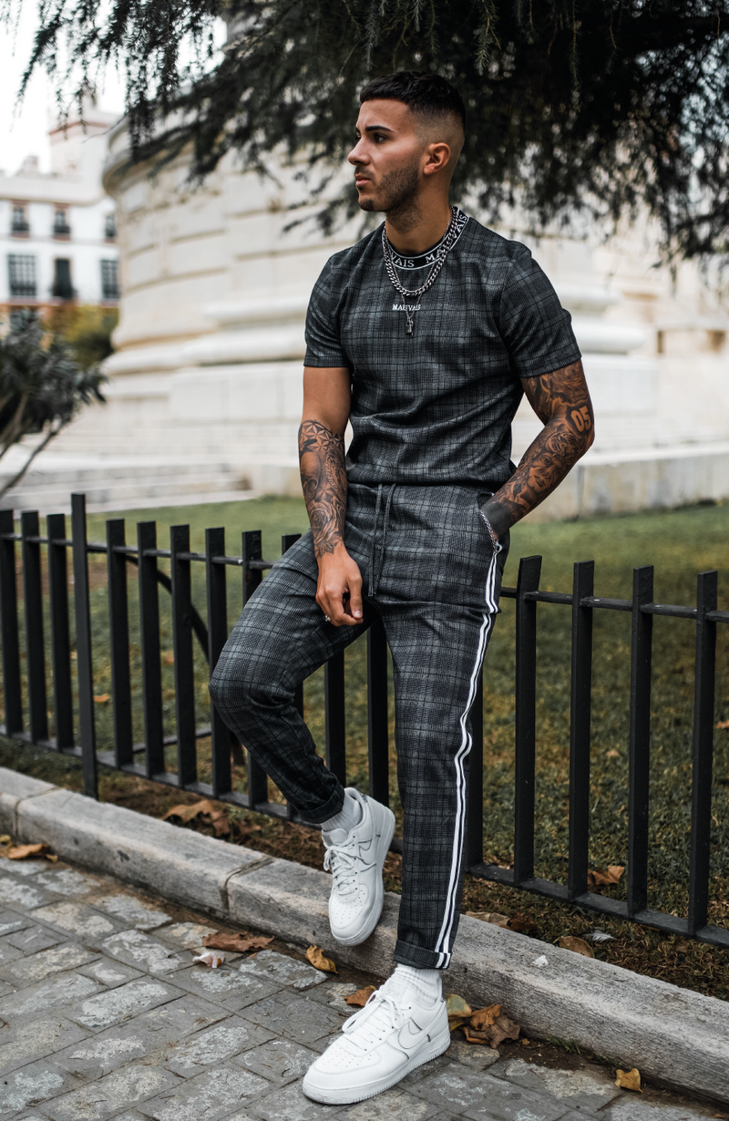 MAUVAIS Dark Check Joggers with Stripe