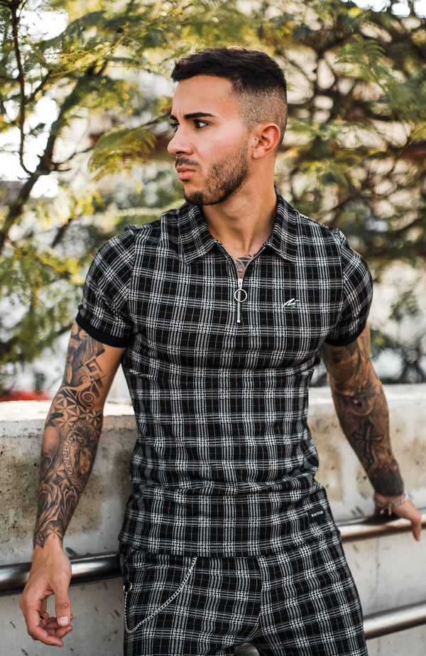 MAUVAIS Geo Check Zip Polo