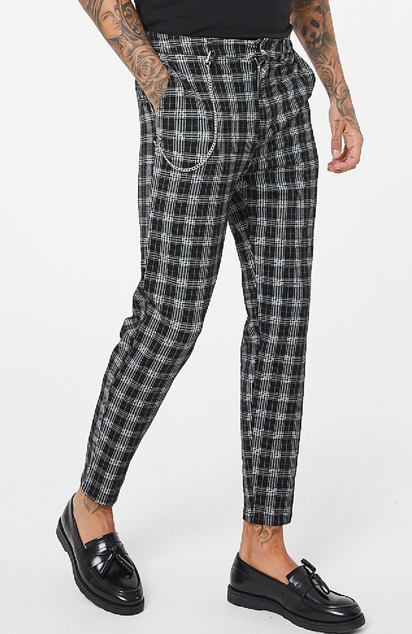 MAUVAIS Geo Check Trouser with Detachable Chain