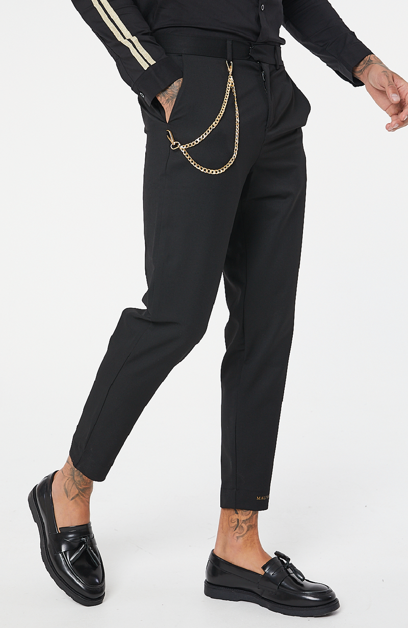 MAUVAIS Black Cropped Trousers with Detachable Gold Chain