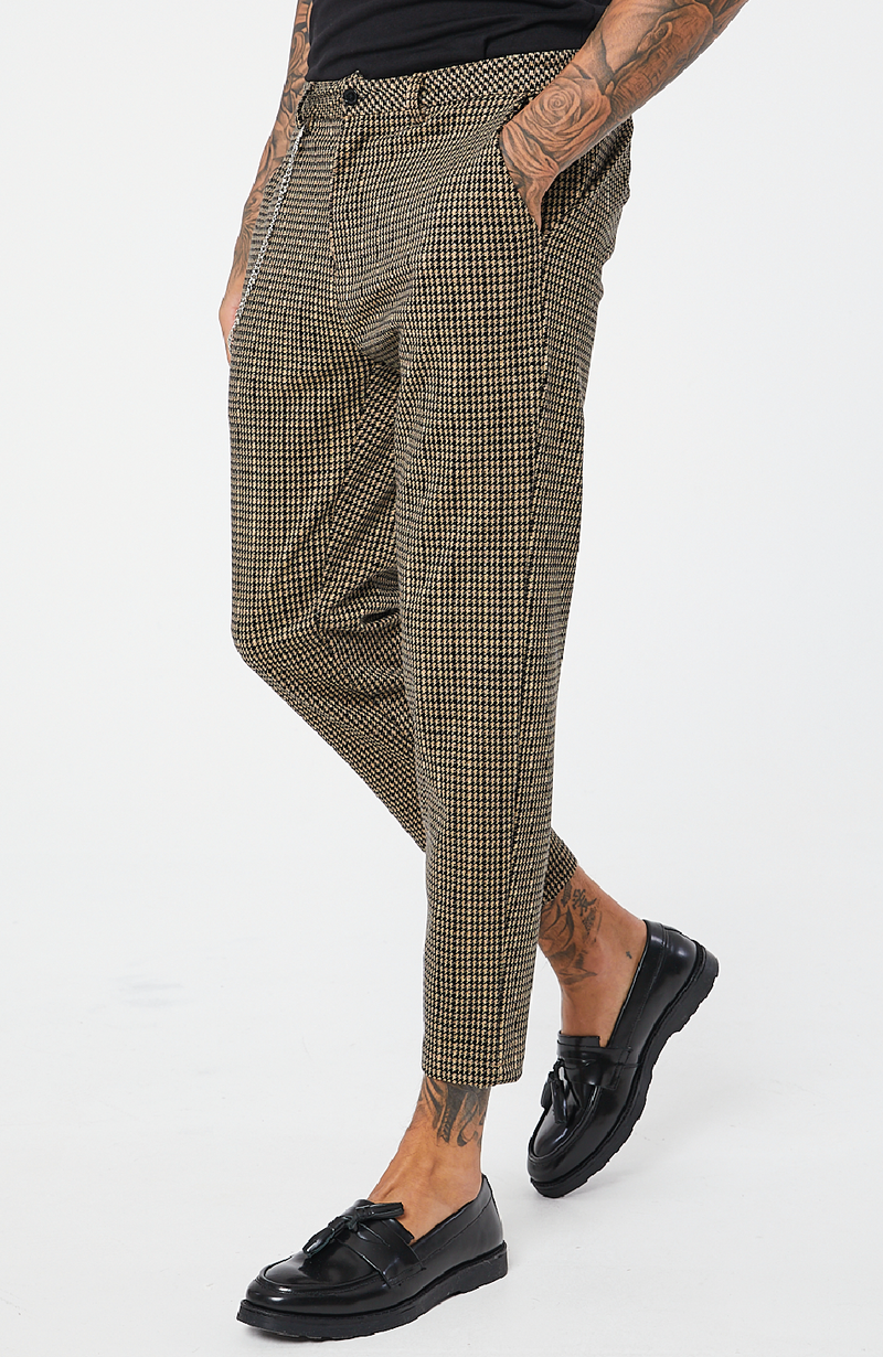 MAUVAIS Gold Houndstooth Cropped Trousers with Detachable Chain