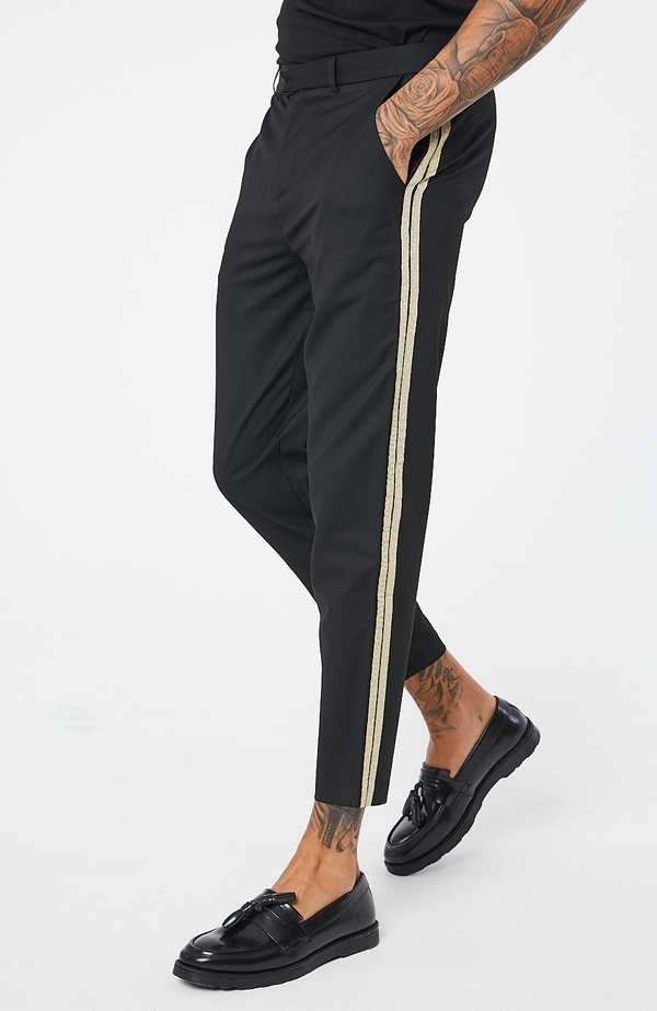 MAUVAIS Black Cropped Trousers with Gold Stripe