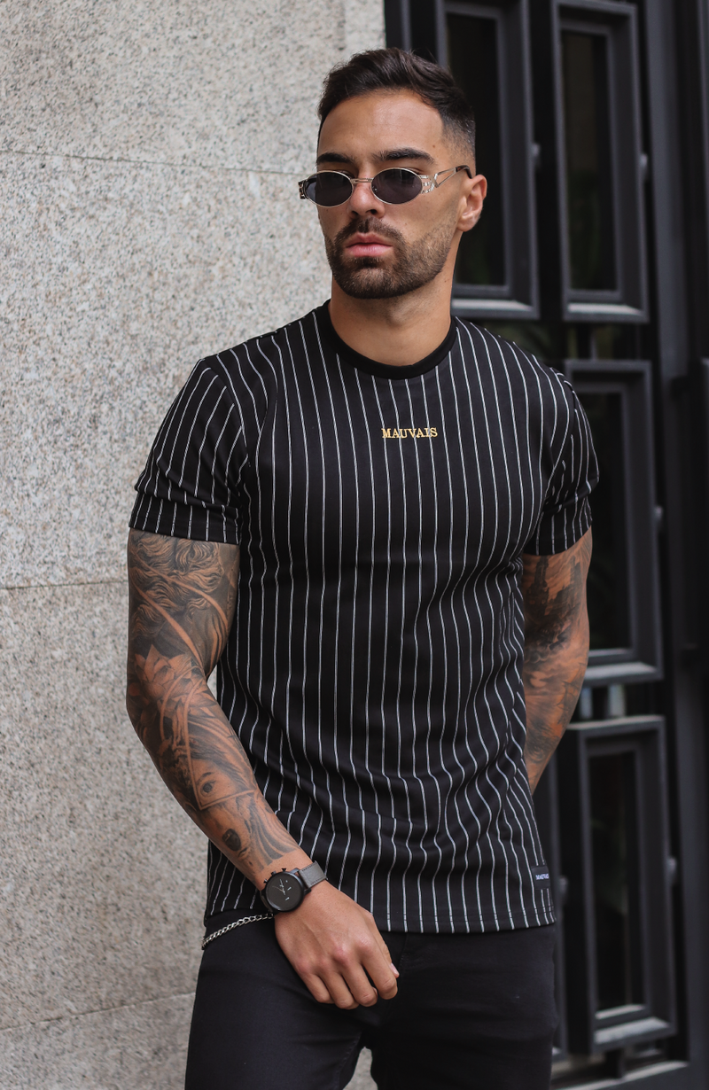 The Future Is Ours Black Pinstripe Graphic Tee