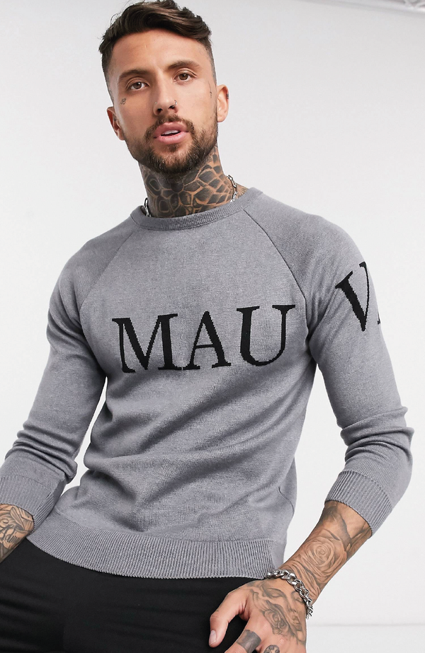 MAUVAIS Grey Knitted Logo Jumper