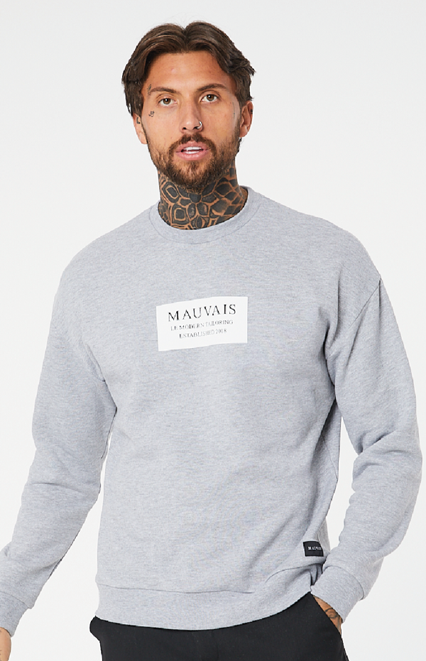 MAUVAIS Gray Box Logo Sweatshirt