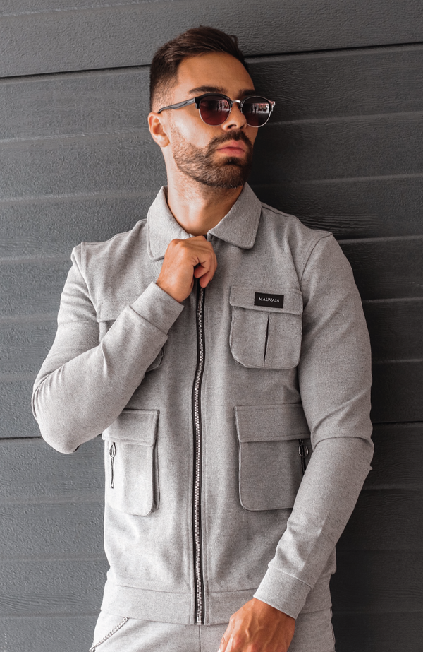MAUVAIS Grey Cargo Jacket